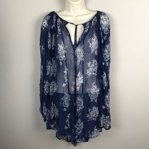 NWT Free People Sheer Tunic Blue Floral
